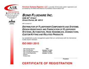 ISO 9001 Certificate Oct 2018-signed - Welcome to Bond Fluidaire Inc